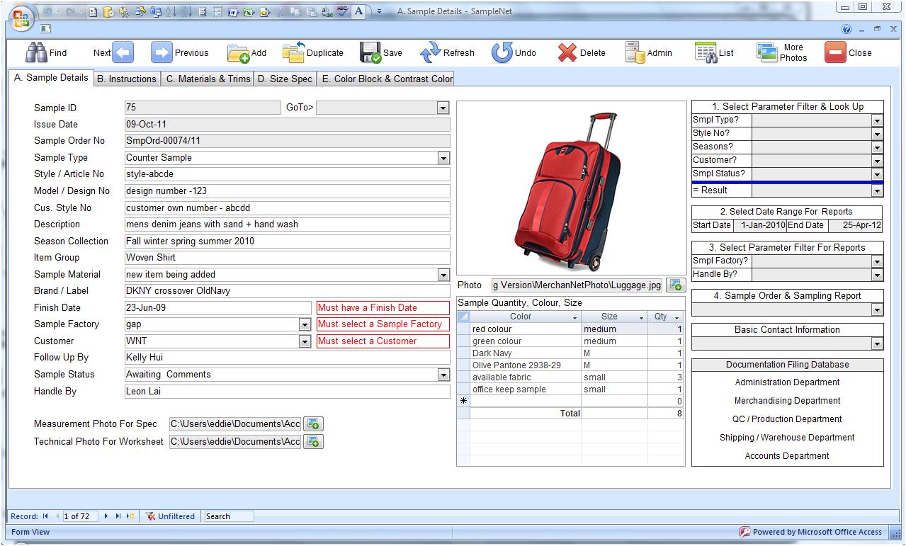 Sample development software for your merchandisiing